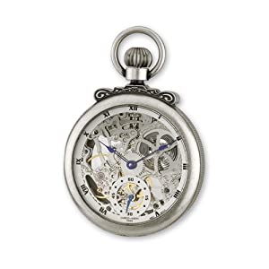 Antique Chrome Finish Brass Skeleton Pocket Watch by Charles Hubert Paris Watches, Best Quality Free Gift Box Satisfaction Guaranteed