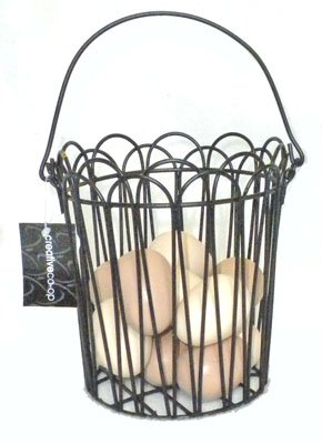 Wire Black Basket includes 12 Eggs Kitchen Country Decor ONE DOZEN FAUX chicken EGGS