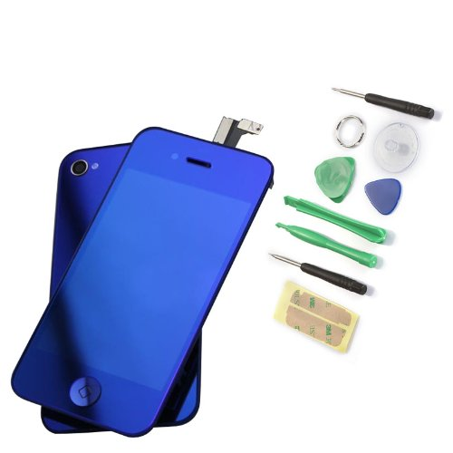 Replacement Lcd + Touch Screen Digitizer Assembly + Back Case Cover For Iphone 4S - Mirror Blue