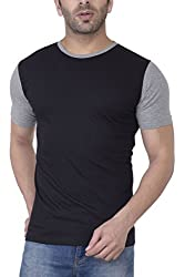 Upbeat Black New Style Tshirt for Men Contrast Short Sleeves - Small