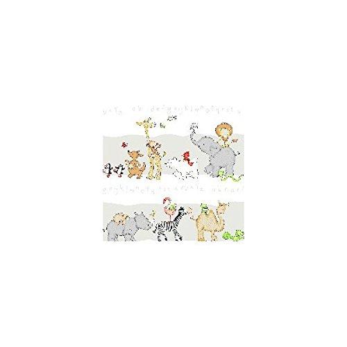 Kinderzimmer gardine schlaufenschal set tier motiv gr n for Schlaufenschal kinder