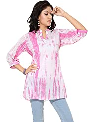 Dragaon- White And Pink Cotton Shibori Print Women Short Kurta