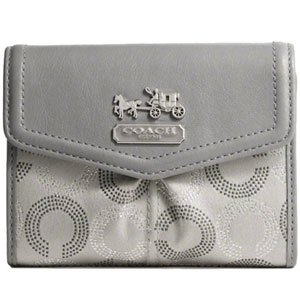 Coach Madison Dotted Signature Op Art Medium Wallet 44369 Silver