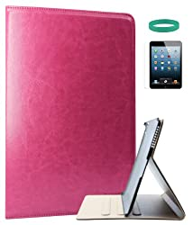 DMG Lishen PU Leather Smart Folio Book Cover Case for Apple iPad Air with Matte Screen protector and DMG Wristband (Pink)