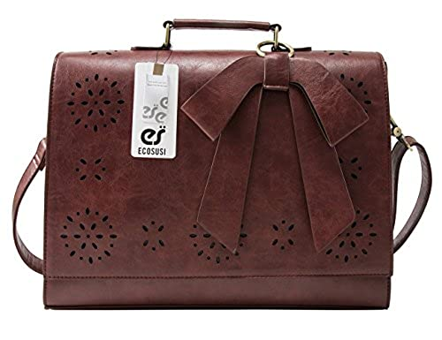 "12. ECOSUSI Ladies Faux Leather Briefcase Shoulder Laptop Messenger Bags Satchel Bag Brown Fit 14"" Laptop"