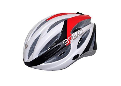 Briko Shire Casco Ciclismo, Bianco Opaco/Rosso/Nero, M (54-58CM)