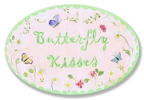 The Kids Room by Stupell Butterfly Kisses Oval Wall Plaque