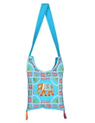 Rajrang Women's Elephant Printed Cotton Embroidered Work Turquoise Sling Bag