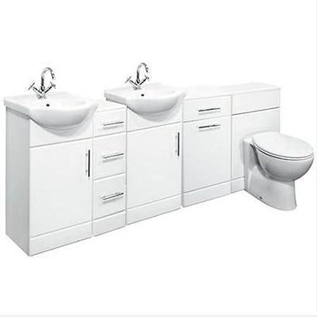 2100mm Double Bathroom Set 450 Vanity Unit WC & Storage