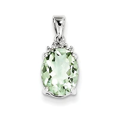 IceCarats Designer Jewellery Sterling Silver Rhodium Green Quartz Diamond Pendant
