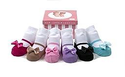 Baby Emporio- 6 Pr- Baby Girl Socks-Keepsake Box-0-9 Months-Anti-slip (Festive Mary Jane)