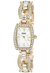 Badgley Mischka Women's BA/1336WMGB Swarovski Crystal-Accented Gold-Tone Watch with Open-Link Bracelet