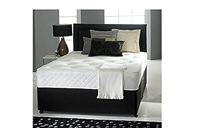 Confianza camas de cuero negro diván cama con colchón de espuma de memoria, planos de la cabecera y 2 cajones (152,4 cm tamaño KING) y entrega GRATUITA Reino Unido