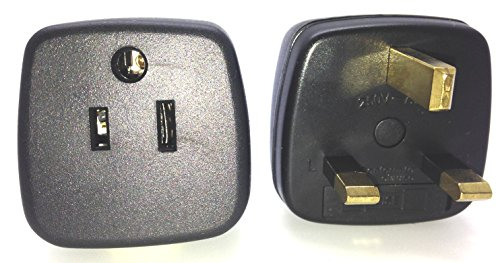 PG-12UK USA to UK Outlet Travel Plug Adapter Grounded with Fuse, Type G (BS 1363 Standard)