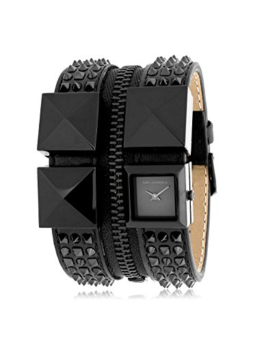 Karl Lagerfeld Women's KL2013 Black/Silver Stainless Steel and Leather Watch
