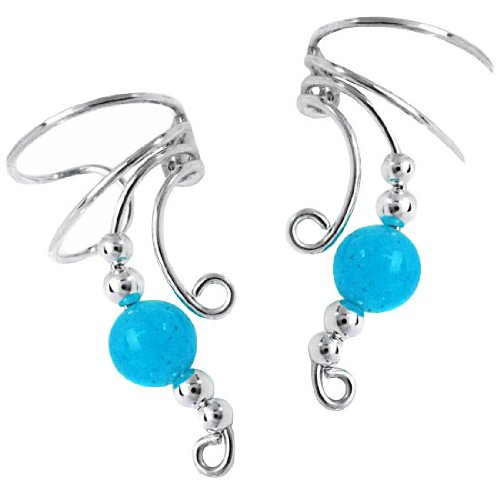 Sterling Silver Blue Jade Round Bead Wave Ear Cuff Wrap Set