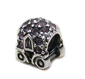 EvesErose 925 Sterling Silver Cinderella's Crystal Carriage Charm Bead Charm Fits EvesErose Pandora Chamilia Biagi & European Bracelets Compatible