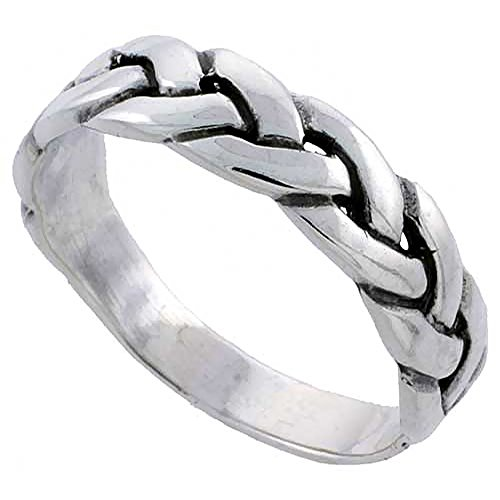 Sterling Silver Braided Ring Wedding Band Size 8