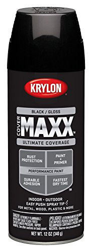 Krylon K09106000 COVERMAXX Spray Paint, Gloss Black (Black Spray Paint Plastic compare prices)