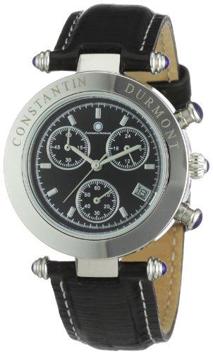 Constantin Durmont Visage - Reloj cronógrafo de mujer de cuarzo con correa de piel negra (cronómetro) - sumergible a 30 metros