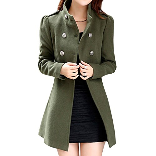 Hee Grand Women Wool Blends Double Breasted Long Sleeve Winter Coat Chinese M Green