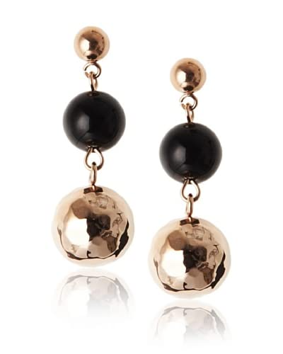 Chloe by Liv Oliver 18K Rose Gold Black Bead and Hammered Bead Earrings