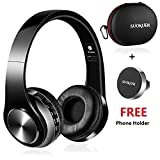 Bluetooth Headphones Over Ear, Hi-Fi Stereo Wireless Headset, Foldable, Soft Memory-Protein Earmuffs, w/Built-in Mic and Wired Mode for PC/Cell Phones
