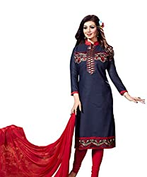 Siya Fashion women's Cotton Party Wear Unstitched Dress Material(si1561_ Navy Blue color)