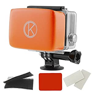 GoPro Floaty by CamKix® Removable Float for GoPro Backdoor - Includes Waterproof Adhesive, High Quality Waterproof Velcro, 1 Pair of Anti-Fog Inserts - Compatible with GoPro Hero 4, 3+, 3, 2, 1(Orange)