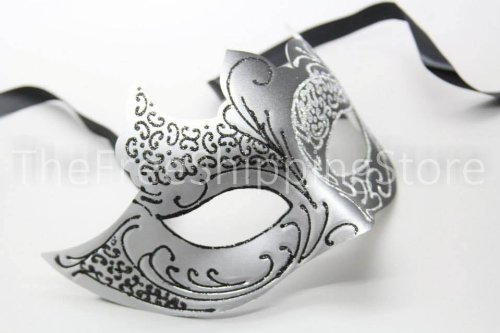 Elegant Black and Silver Princess Venetian Masquerade Mask with Sparkling Glitters