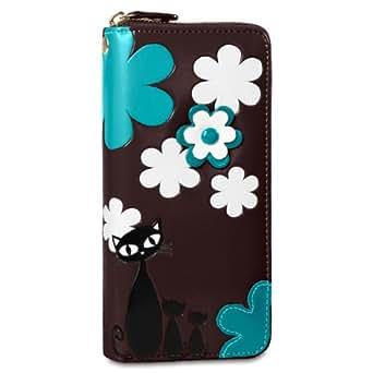 CASPAR Damen Geldbörse / Geldbeutel / Portemonnaie mit Reißverschluss und Katzen und Blumen Motiv - viele Farben - GB291, Farbe:braun