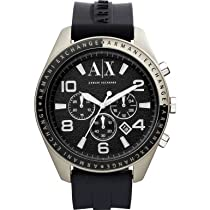 Armani Exchange Chronograph Black Dial Black Rubber Mens Watch AX1253