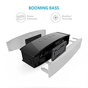 Bocina Portátil Anker Premium Stereo Bluetooth 4.0 salida de 20 W con bocinas de 10W cada una, 2 Subwoofers pasivos para iPhone, iPad, Samsung, Nexus, HTC  y más
