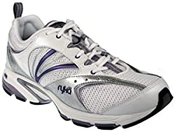 Ryka Womens Pursuit White/Metallic Twilight Blue/Chrome Silver/Black Running
