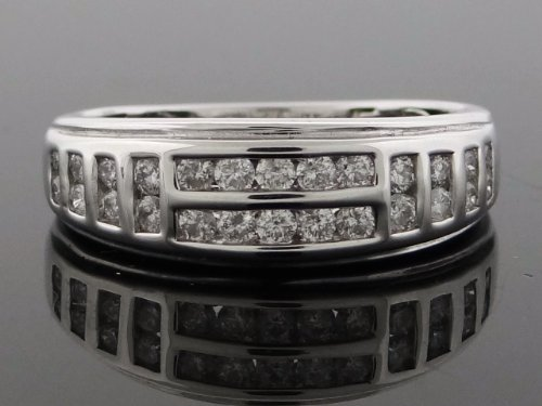 Designer Women's Wedding Band Ring 14k White Gold with 0.75ct Diamonds WG-WB-R196-JGK