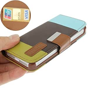 JUJEO 3-Color Litchi Texture Leather Case with Credit Card Slots and Holder for iPhone 5/5S - Non-Retail Packaging - Red