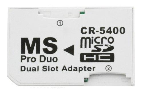 COM-FOUR-Dual-Micro-SDHC-zu-MS-Pro-Duo-Adapter-Speicherkarte-microSD-zu-Memory-Stick-fr-Sony-PSP-Kamera-Handy-max-32GB