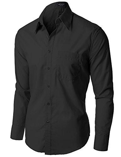 Stylish Comfortable Solid Color Long Sleeve Dress Shirts Black 1XL