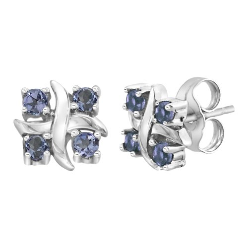 Sterling Silver Tanzanite Fashion Earrings (1/3 cttw)