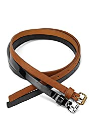 2 Pack Square Buckle Skinny Belts