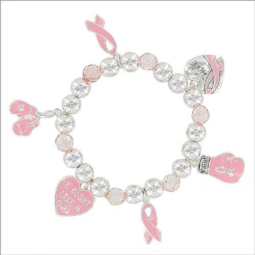 Pink Ribbon Multi Charm Stretch Bracelet #041646