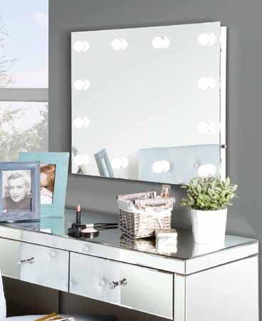 My furniture broadway specchio illuminato per il trucco stile camerino delle star - Specchio per trucco illuminato ...