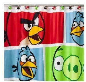 Angry Birds Fabric Shower Curtain Hooks Set Home Kitchen