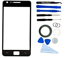 Samsung Galaxy S2 Black Display Touchscreen replacement kit 12 pieces incl tools / pre cut Sticker / cleaning cloth / suction cup / wire MMOBIEL