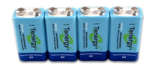 Tenergy 4 pieces of 9V 250mAh NiMH high capacity rechargeable Battery