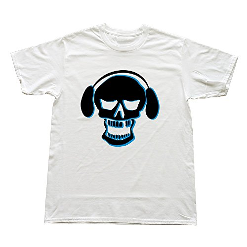 100% Cotton Awesome Dj Skull Music Headphones Tees For Men'S - Round Neck front-617683