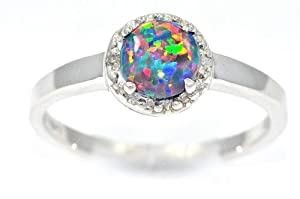 Black Opal & Diamond Round Ring .925 Sterling Silver Rhodium Finish
