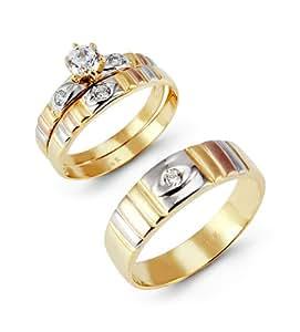 14k tri color gold cut cz ribbed wedding
