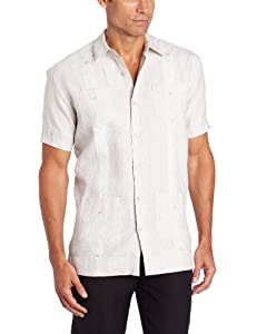 Cubavera Men's Short Sleeve With Embroidery Detail, Natural Linen, X-Large