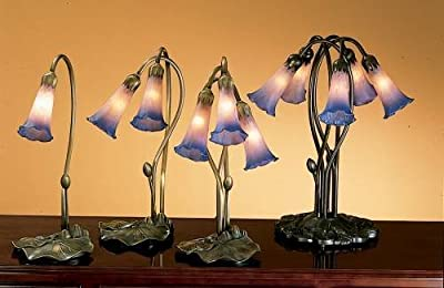 "Meyda Tiffany 13394 Pond Lily Accent Lamp, 16"" H, Pink/Blue"